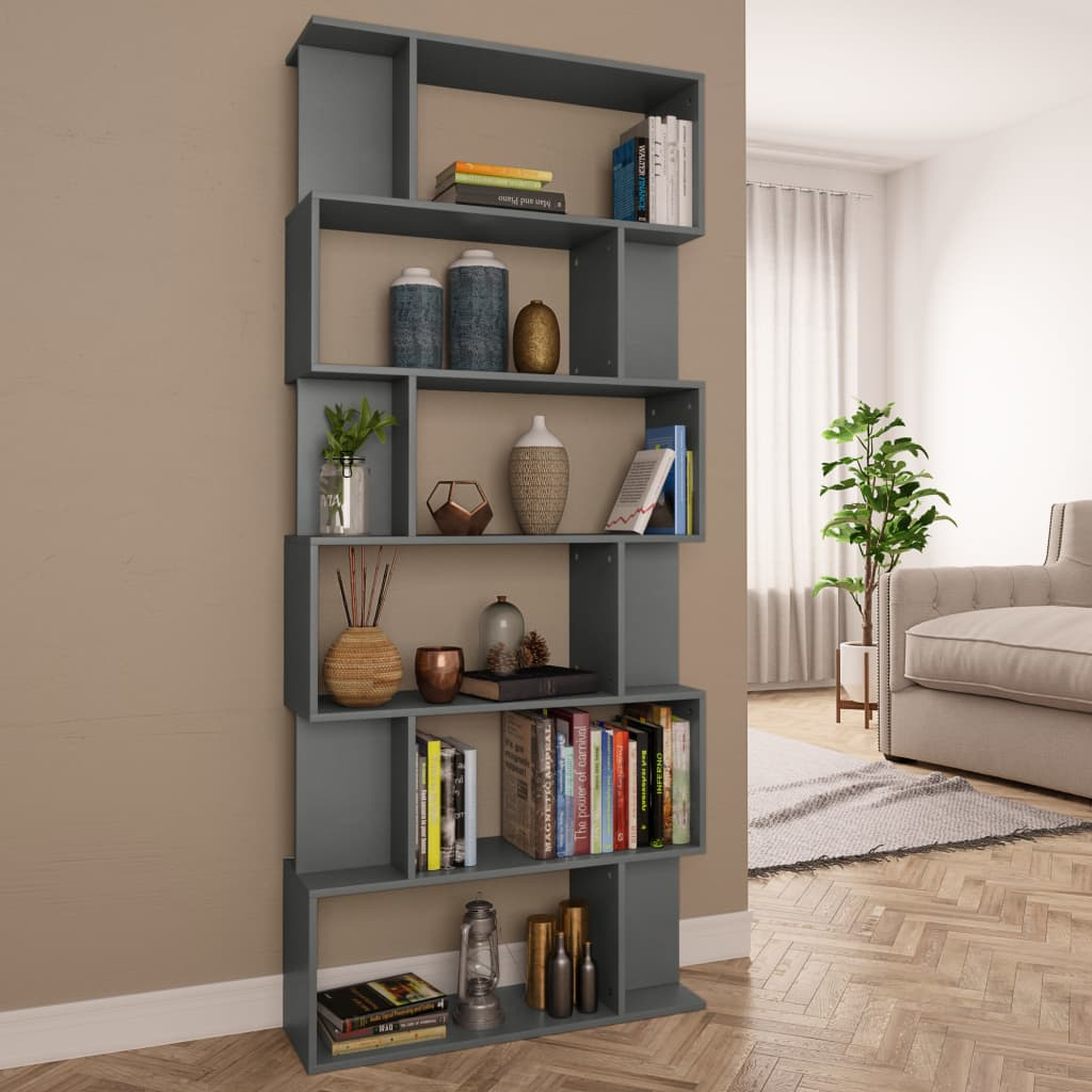Book Cabinet/Room Divider Grey 80x24x192 cm Chipboard 1