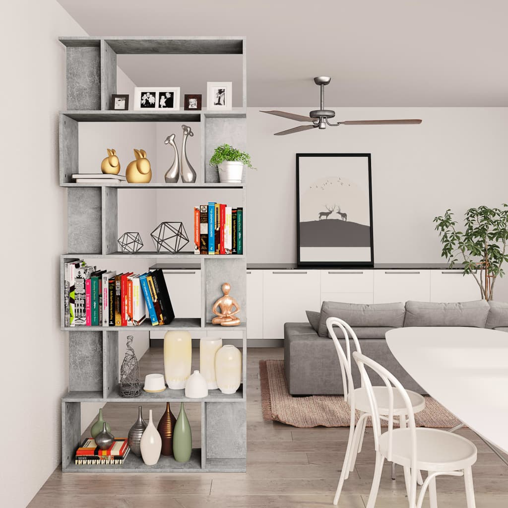 Book Cabinet/Room Divider Concrete Grey 80x24x192 cm Chipboard 4