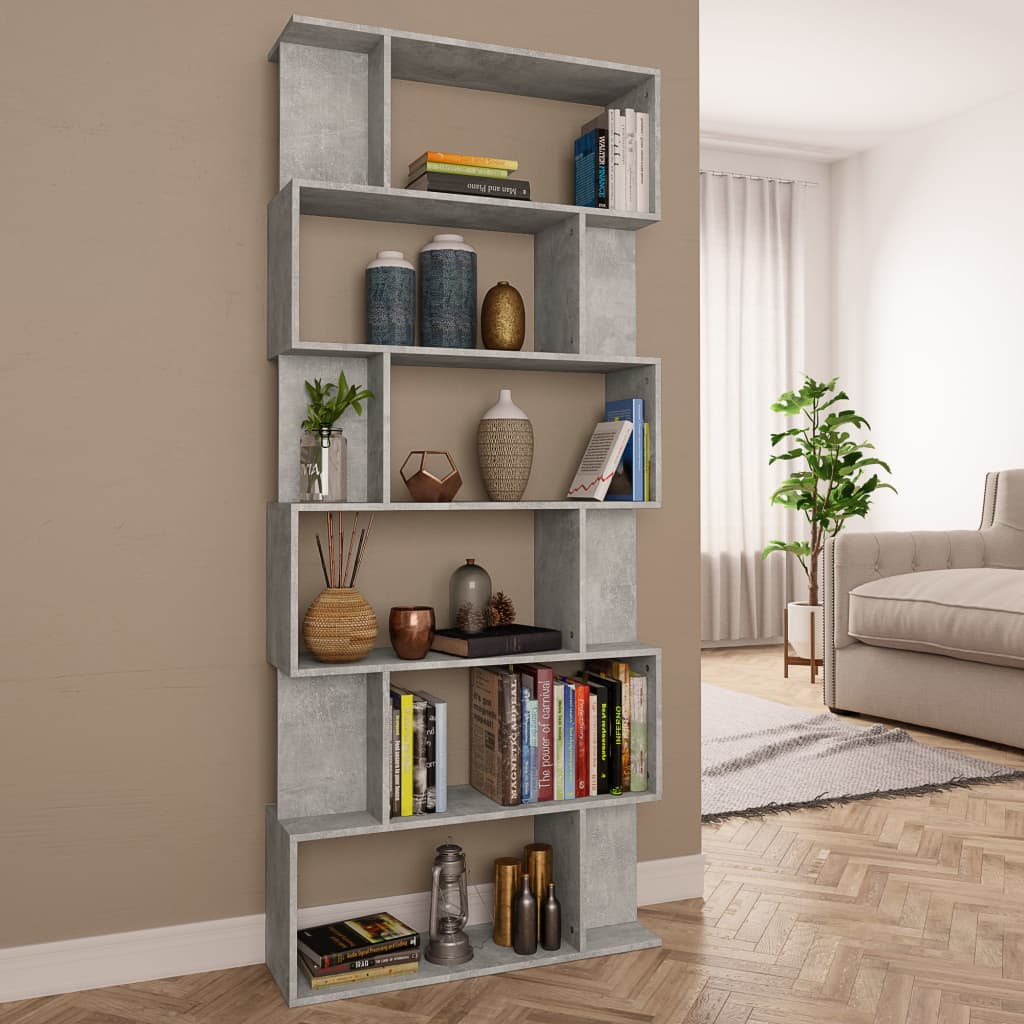 Book Cabinet/Room Divider Concrete Grey 80x24x192 cm Chipboard 1