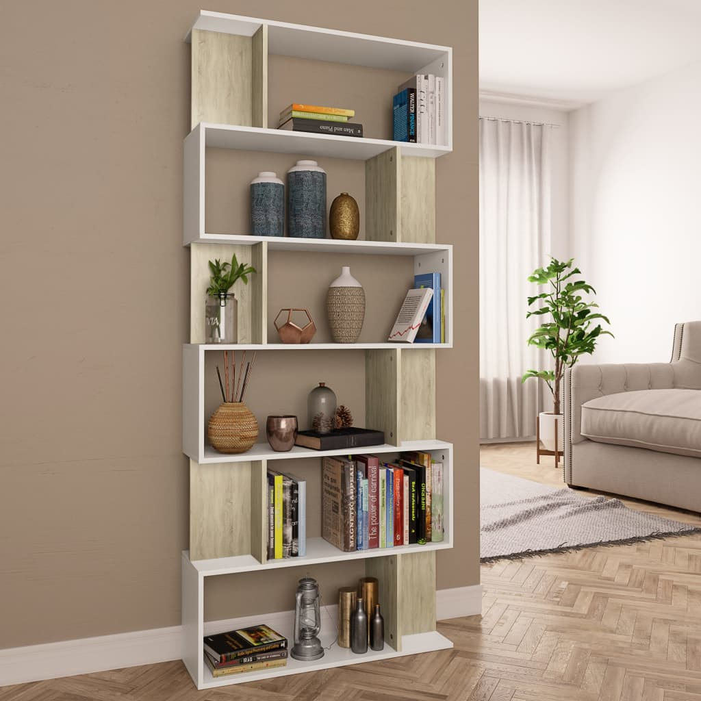 Book Cabinet/Room Divider White and Sonoma Oak 80x24x192 cm Chipboard