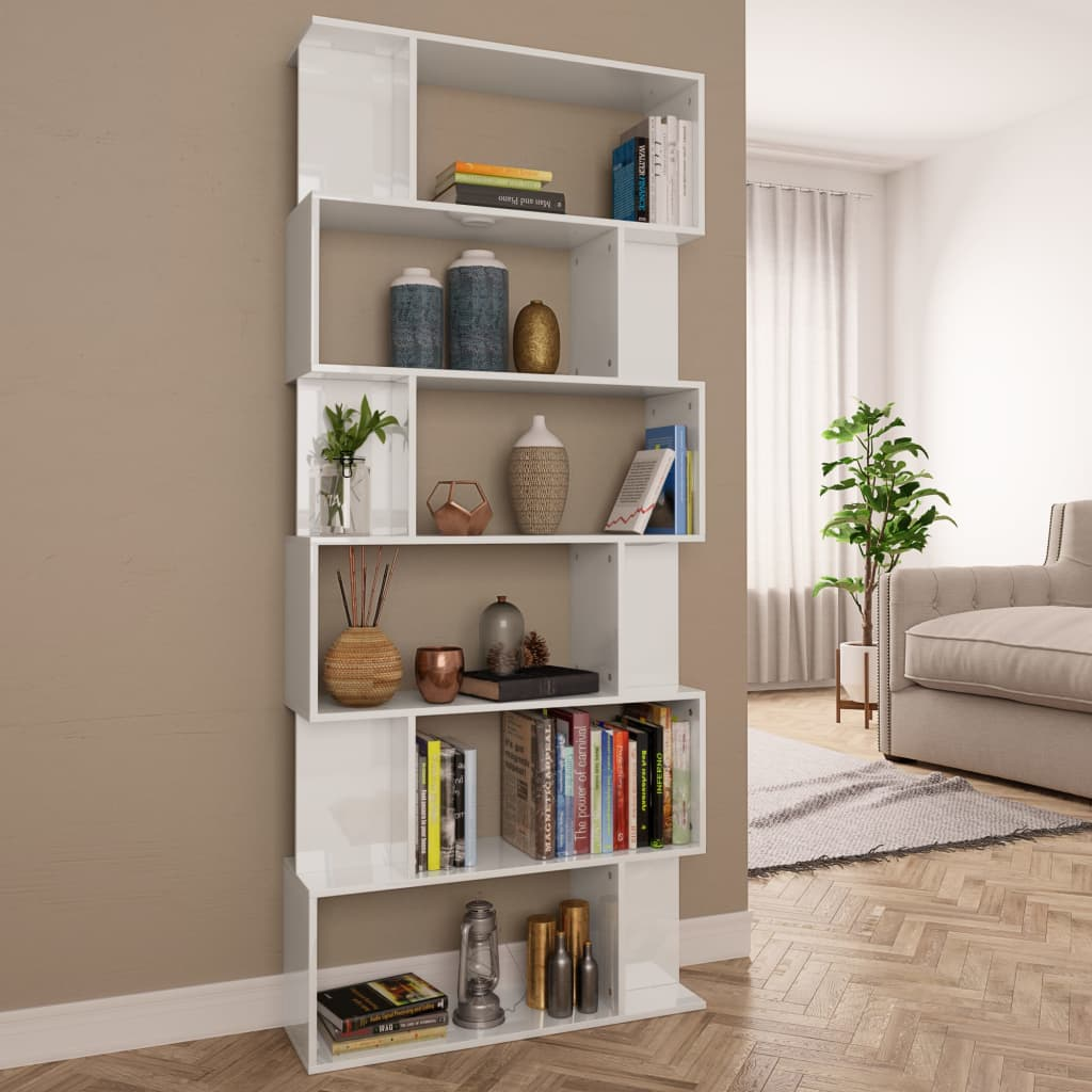 Book Cabinet/Room Divider High Gloss White 80x24x192 cm Chipboard 1