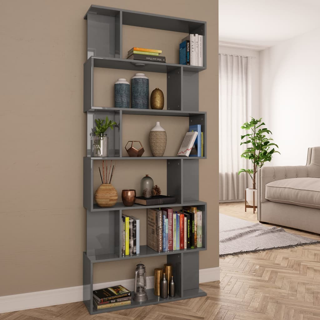 Book Cabinet/Room Divider High Gloss Grey 80x24x192cm Chipboard 1