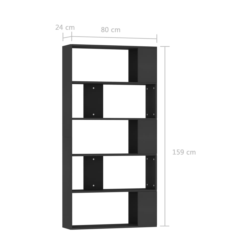 Book Cabinet/Room Divider Black 80x24x159 cm Chipboard 7