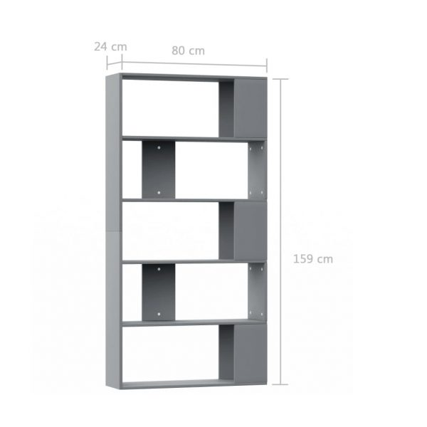 Book Cabinet/Room Divider Grey 80x24x159 cm Chipboard 7