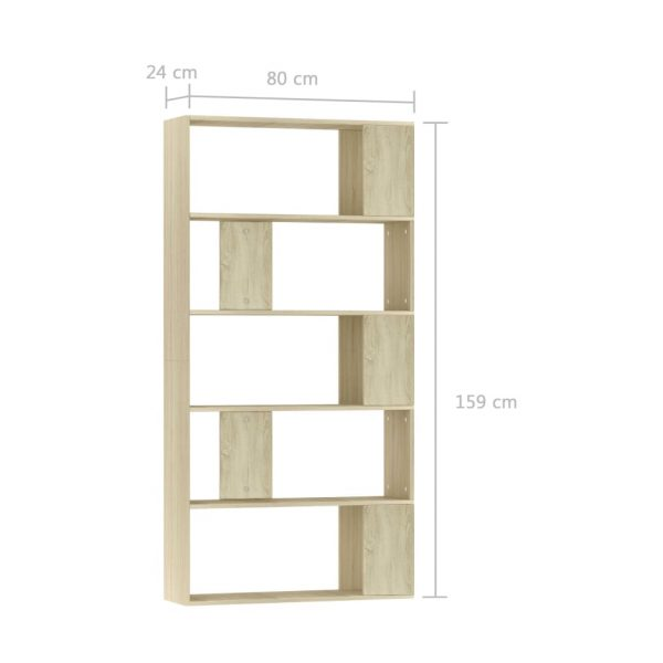 Book Cabinet/Room Divider Sonoma Oak 80x24x159 cm Chipboard 7