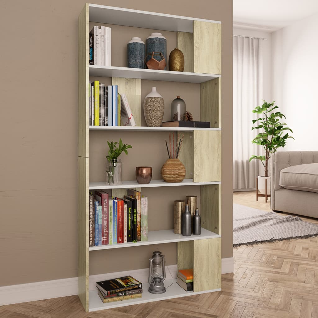 Book Cabinet/Room Divider White and Sonoma Oak 80x24x159cm Chipboard