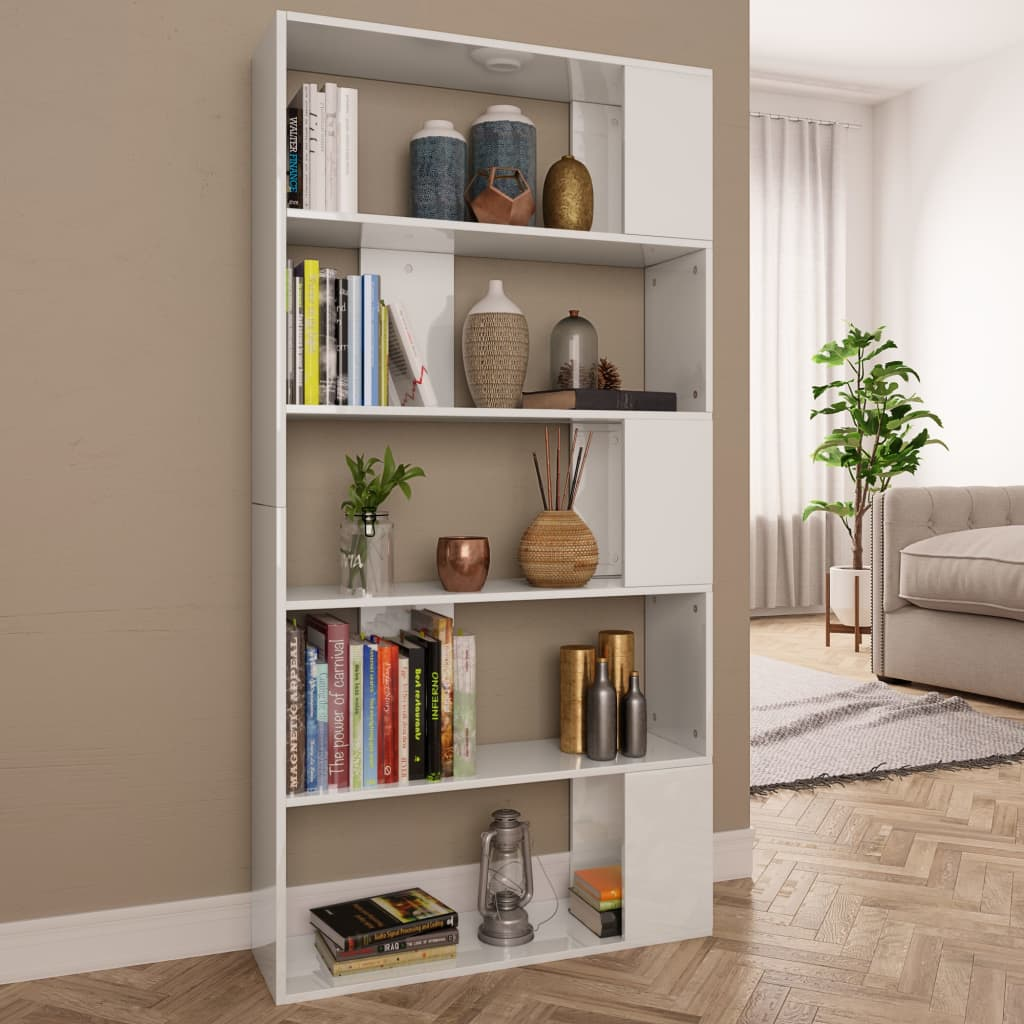 Book Cabinet/Room Divider High Gloss White 80x24x159cm Chipboard 1