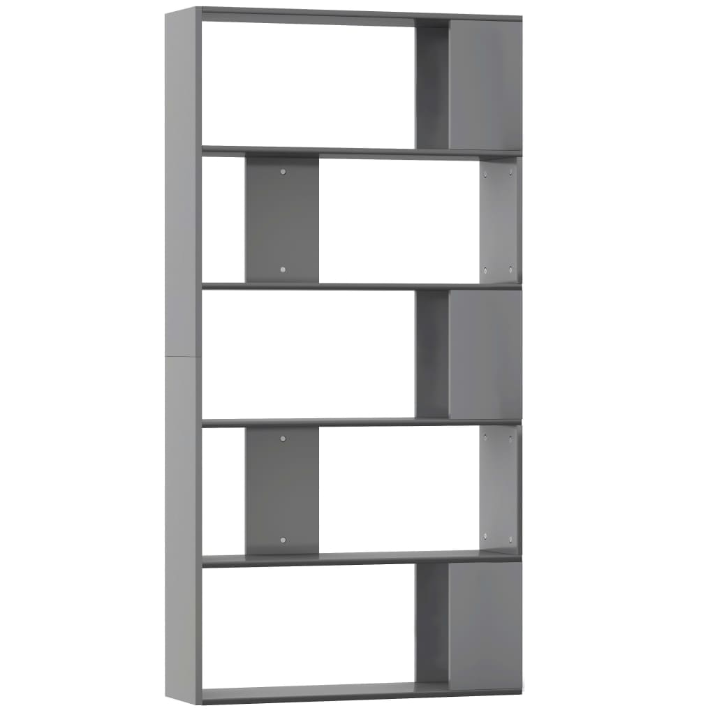 Book Cabinet/Room Divider High Gloss Grey 80x24x159 cm Chipboard 2