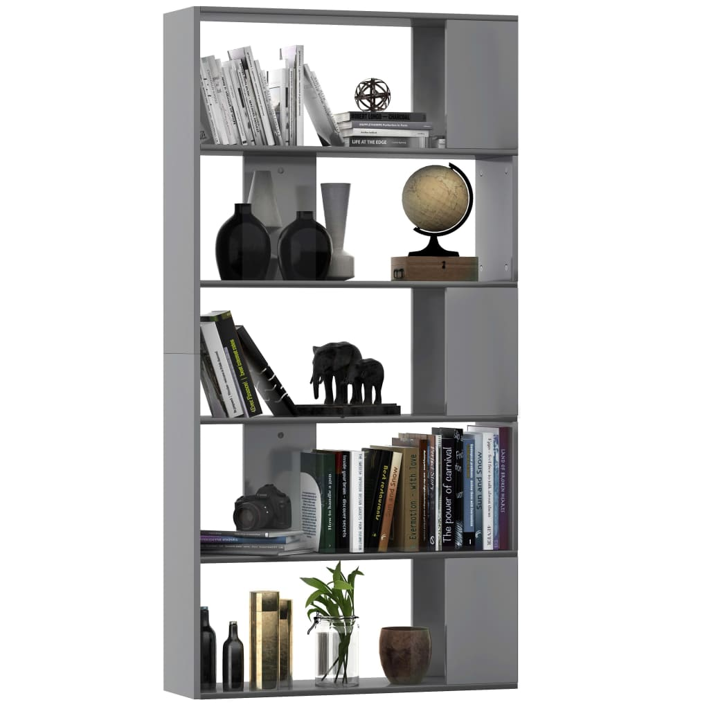 Book Cabinet/Room Divider High Gloss Grey 80x24x159 cm Chipboard 3