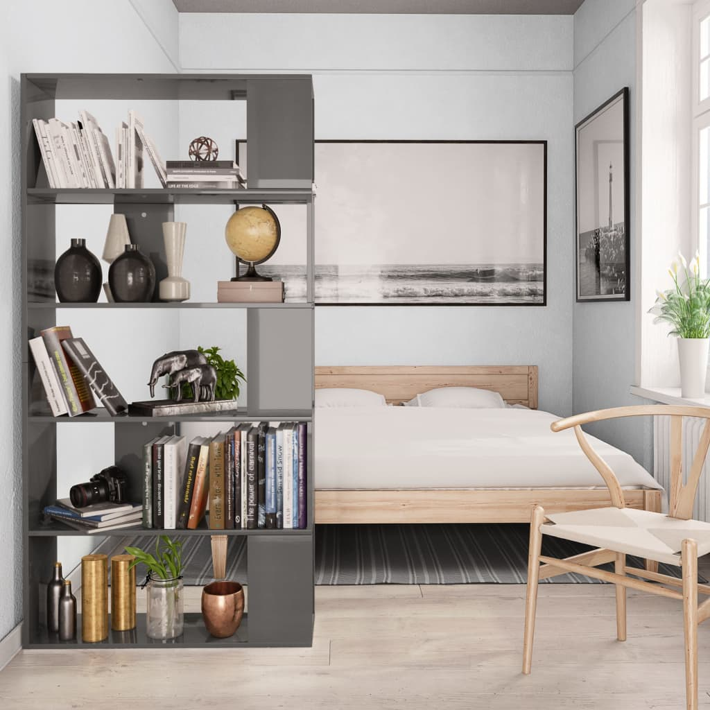 Book Cabinet/Room Divider High Gloss Grey 80x24x159 cm Chipboard 4