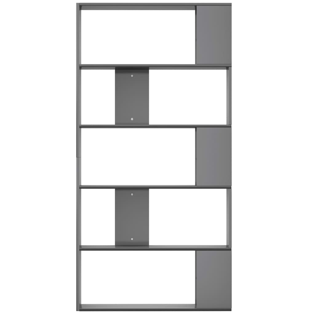 Book Cabinet/Room Divider High Gloss Grey 80x24x159 cm Chipboard 5