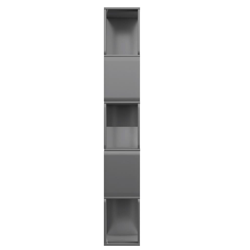 Book Cabinet/Room Divider High Gloss Grey 80x24x159 cm Chipboard 6