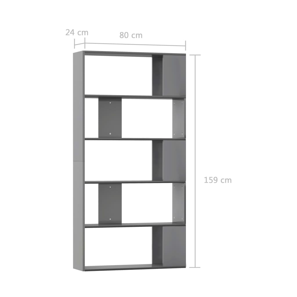 Book Cabinet/Room Divider High Gloss Grey 80x24x159 cm Chipboard 7