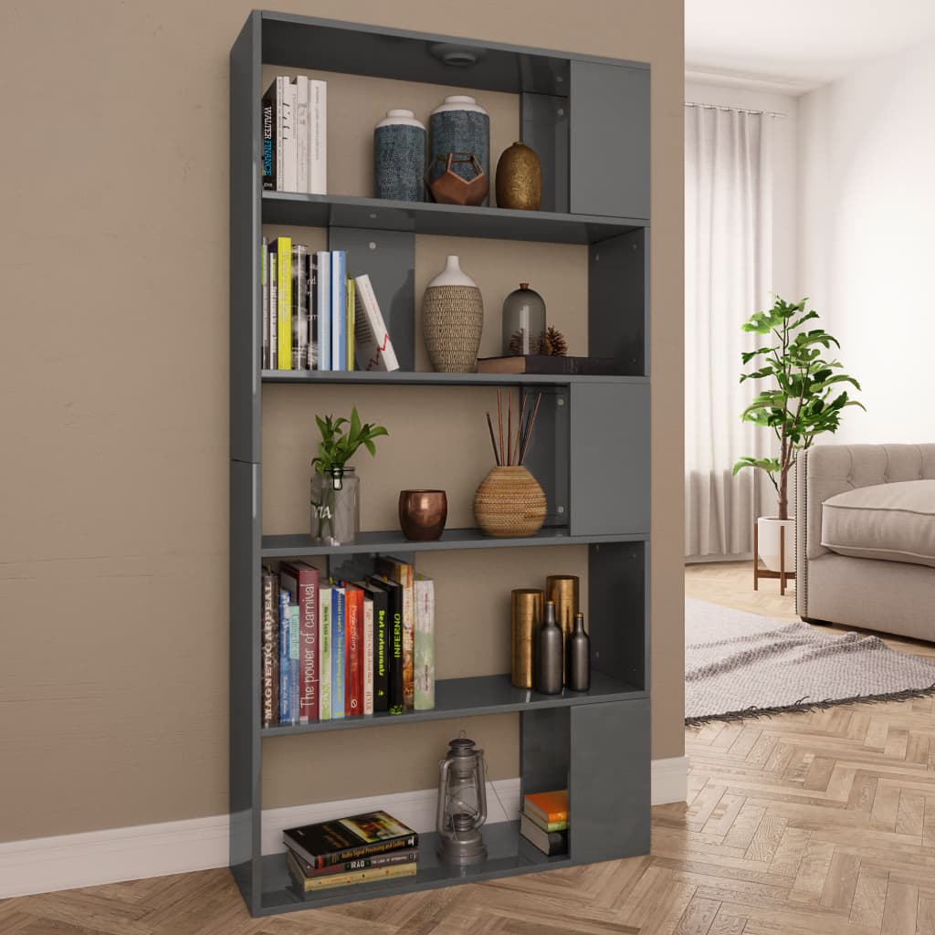 Book Cabinet/Room Divider High Gloss Grey 80x24x159 cm Chipboard 1