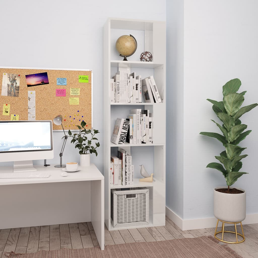 Book Cabinet/Room Divider High Gloss White 45x24x159 cm Chipboard