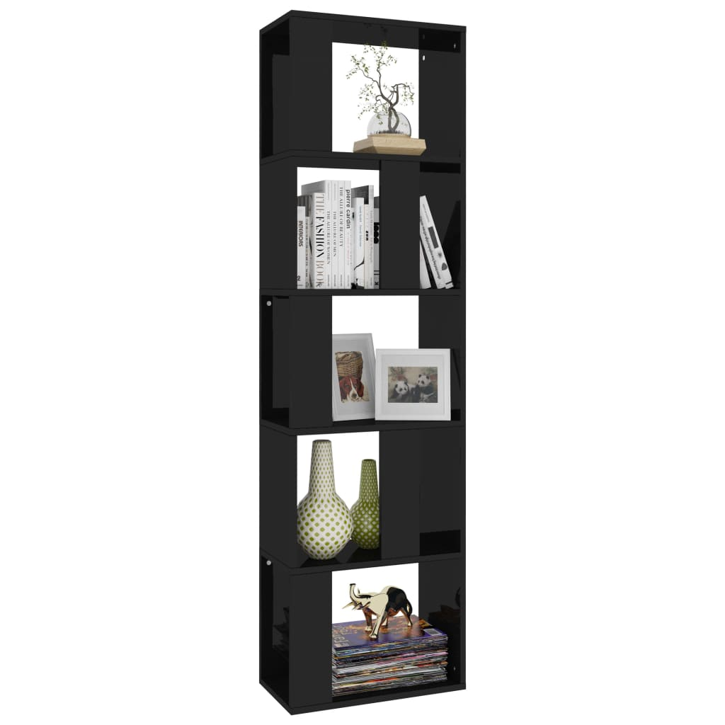 Book Cabinet/Room Divider High Gloss Black 45x24x159 cm Chipboard 3