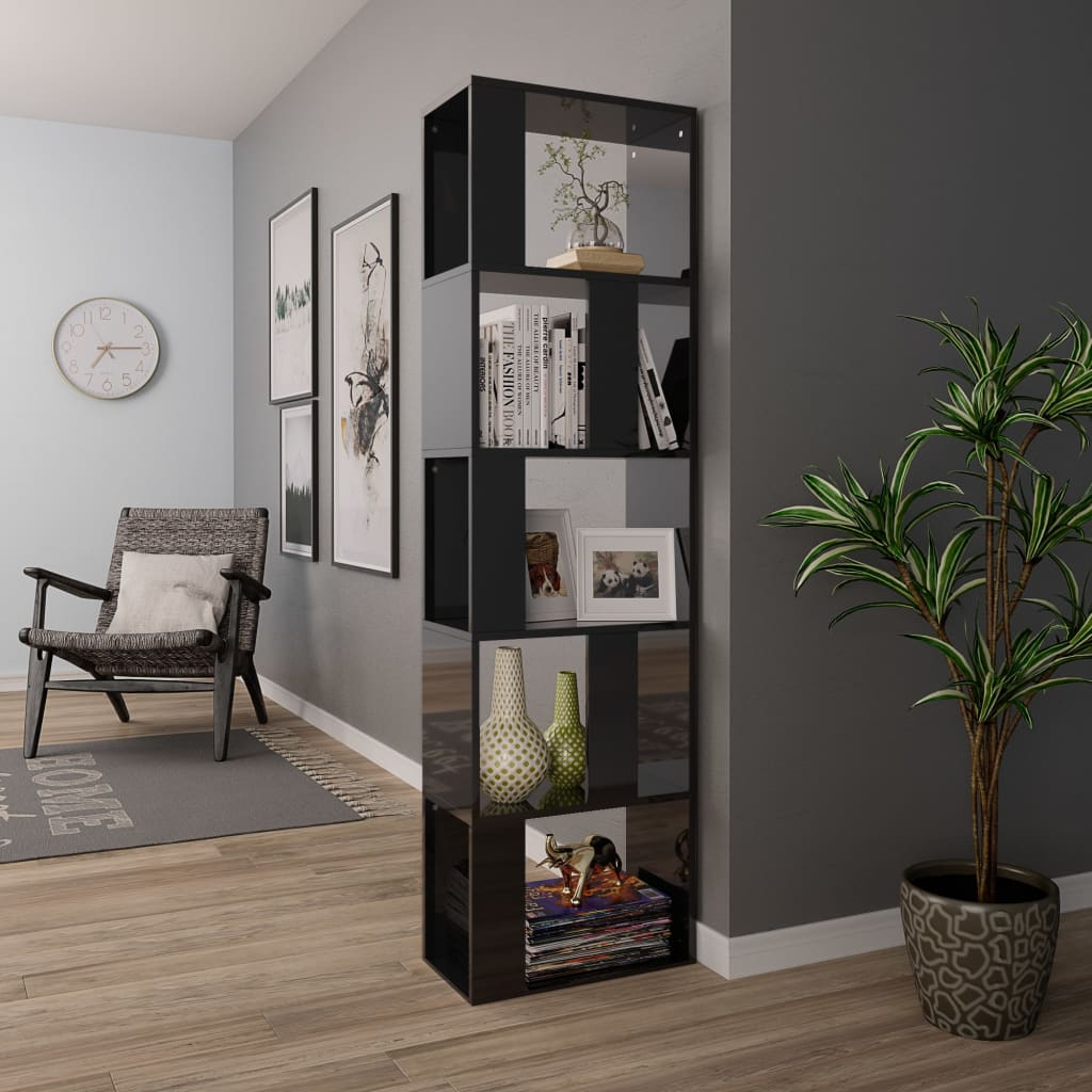 Book Cabinet/Room Divider High Gloss Black 45x24x159 cm Chipboard 4