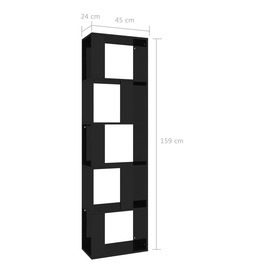 Book Cabinet/Room Divider High Gloss Black 45x24x159 cm Chipboard 7