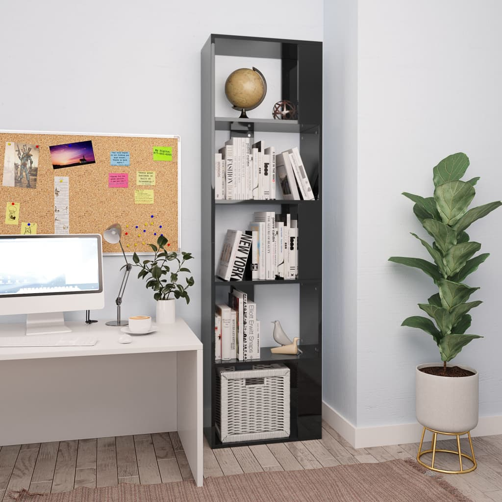 Book Cabinet/Room Divider High Gloss Black 45x24x159 cm Chipboard 1