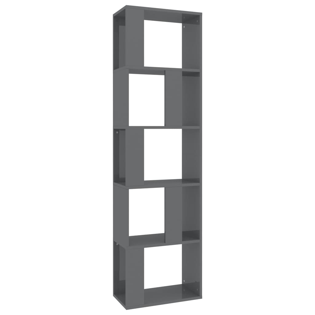 Book Cabinet/Room Divider High Gloss Grey 45x24x159 cm Chipboard 2