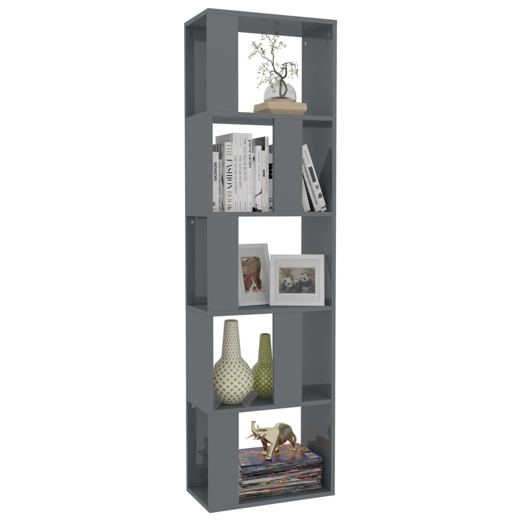 Book Cabinet/Room Divider High Gloss Grey 45x24x159 cm Chipboard 3