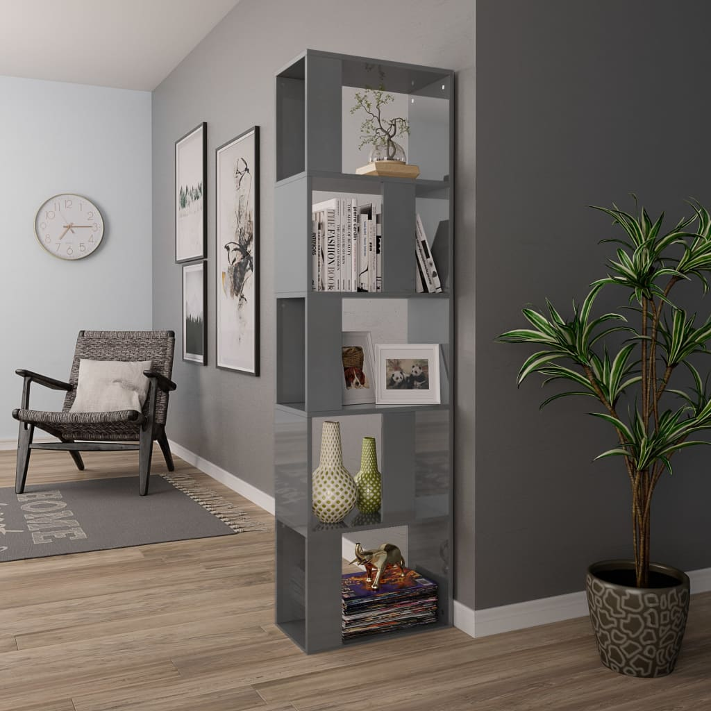 Book Cabinet/Room Divider High Gloss Grey 45x24x159 cm Chipboard 4