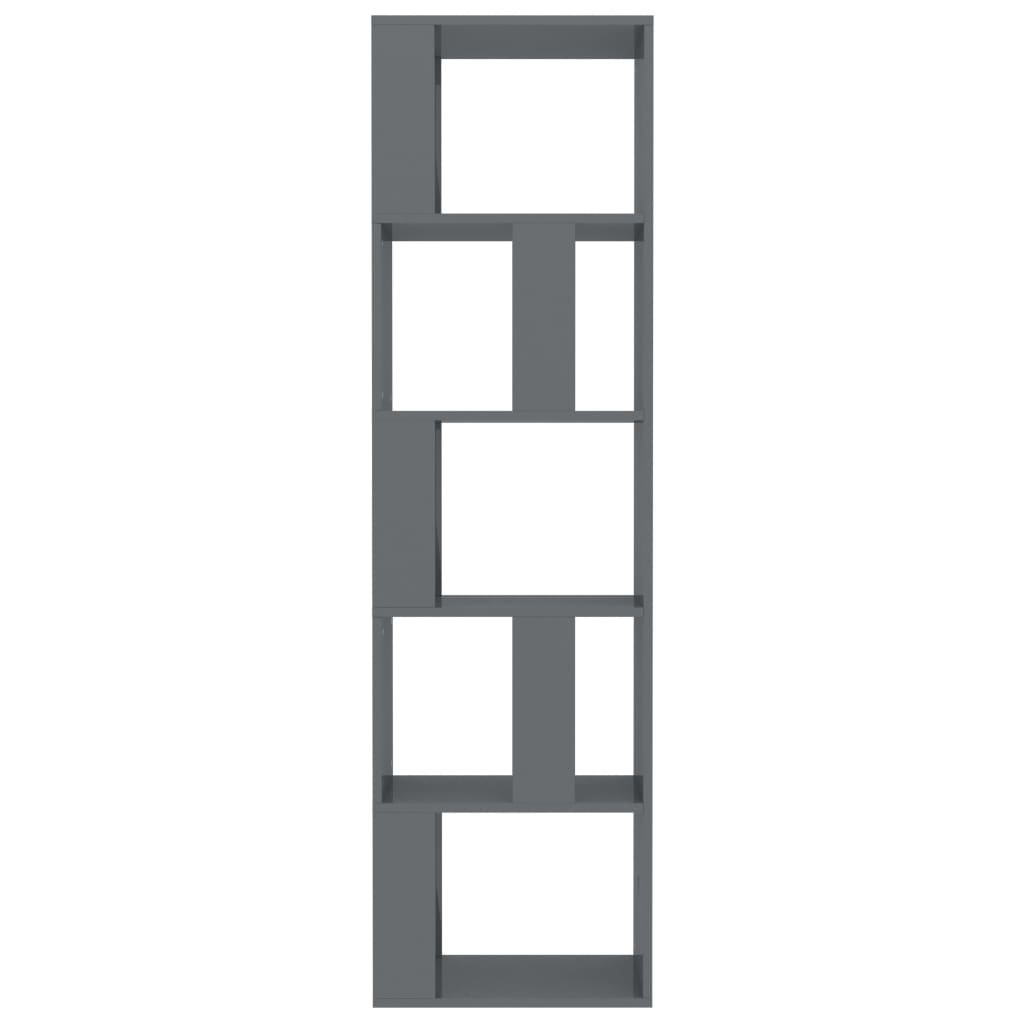 Book Cabinet/Room Divider High Gloss Grey 45x24x159 cm Chipboard 5