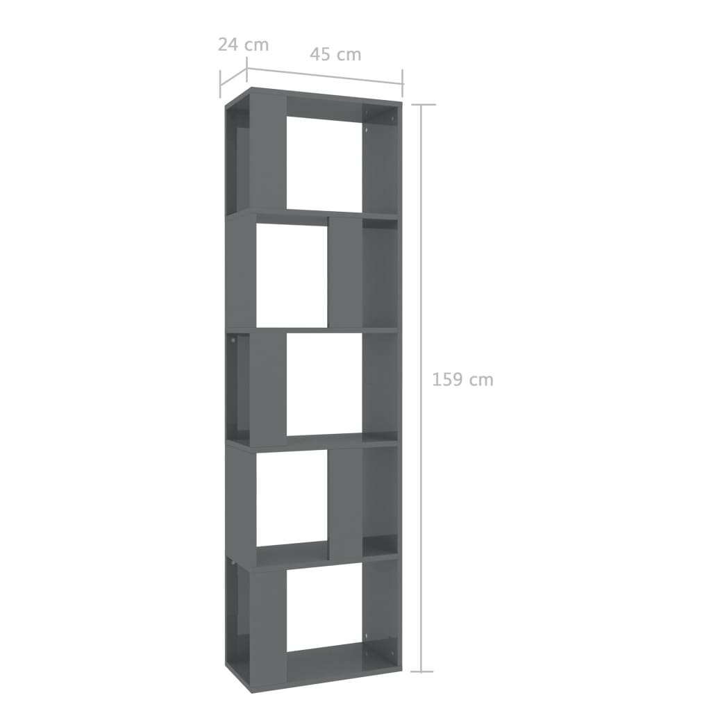 Book Cabinet/Room Divider High Gloss Grey 45x24x159 cm Chipboard 7