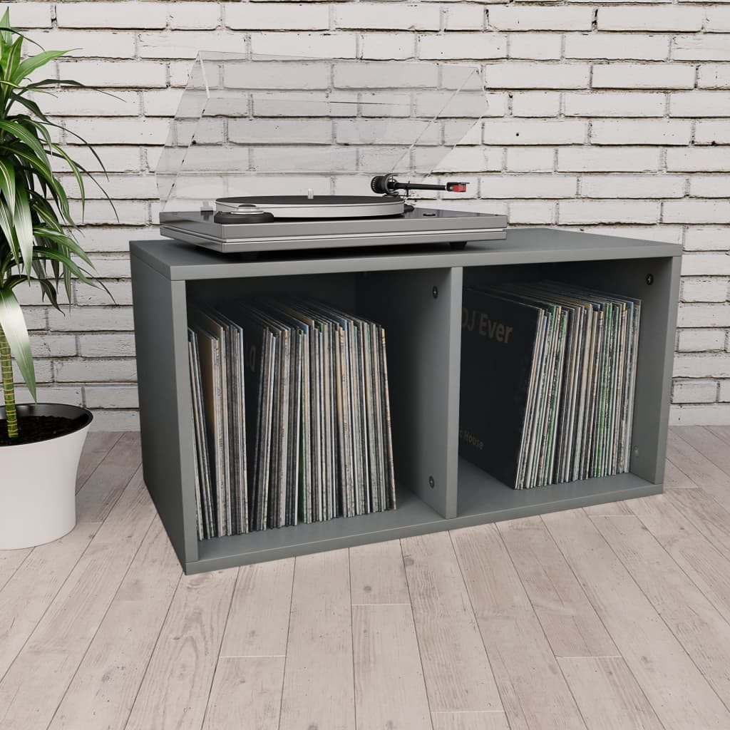 Vinyl Storage Box Grey 71x34x36 cm Chipboard 1