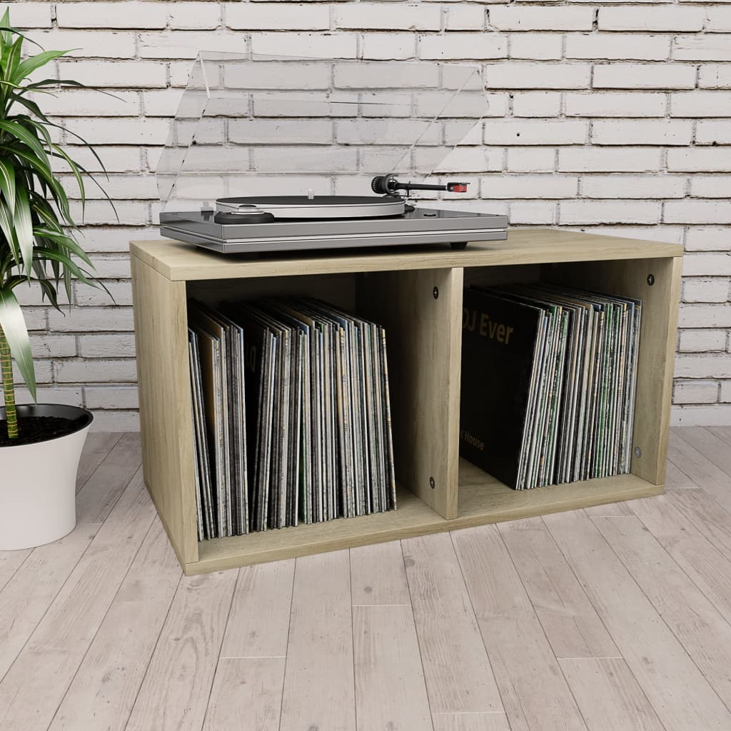 Vinyl Storage Box Sonoma Oak 71x34x36 cm Chipboard