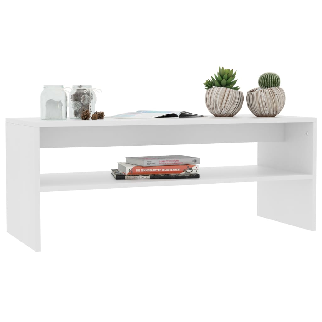 Coffee Table White 100x40x40 cm Chipboard 3
