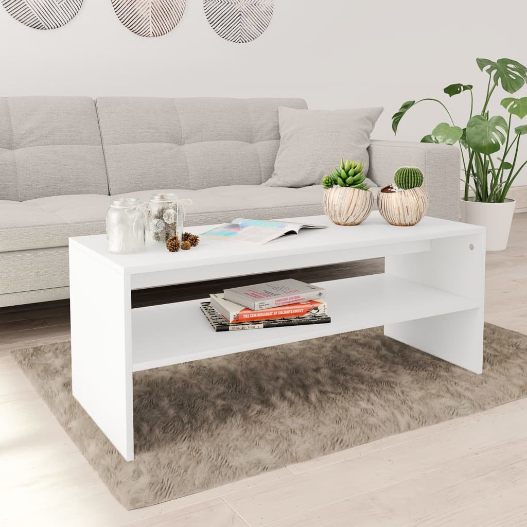 Coffee Table White 100x40x40 cm Chipboard 1