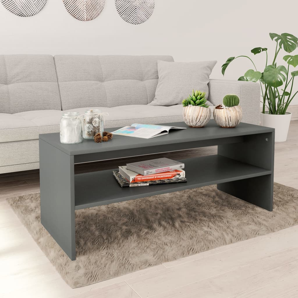 Coffee Table Grey 100x40x40 cm Chipboard
