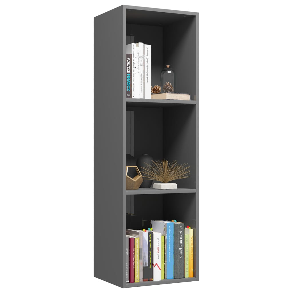 Book Cabinet/TV Cabinet High Gloss Grey 36x30x114 cm Chipboard 3