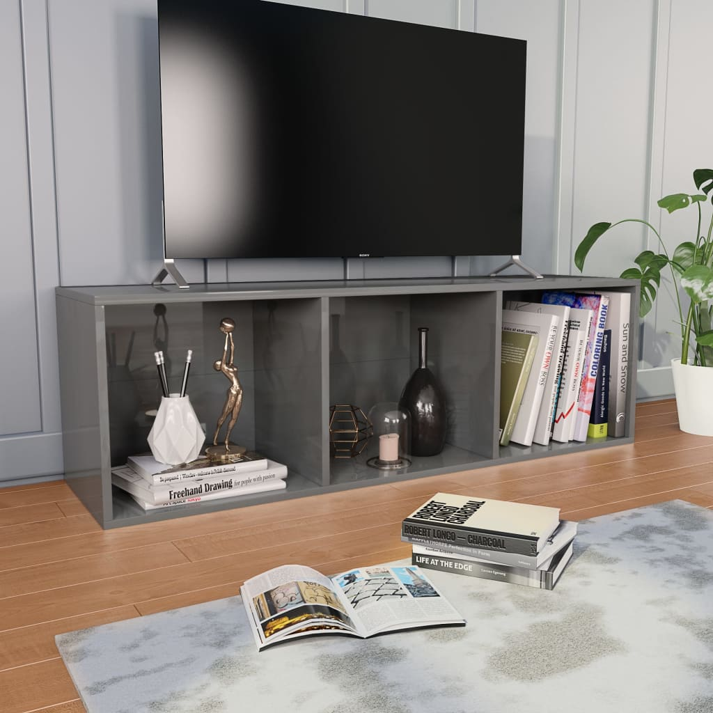 Book Cabinet/TV Cabinet High Gloss Grey 36x30x114 cm Chipboard 4