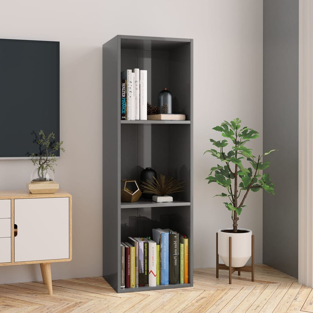 Book Cabinet/TV Cabinet High Gloss Grey 36x30x114 cm Chipboard 1