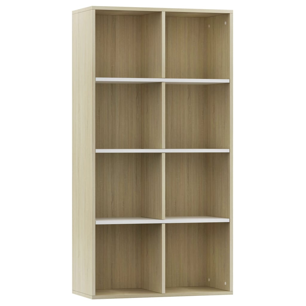 Book Cabinet/Sideboard White and Sonoma Oak 66x30x130 cm Chipboard 2