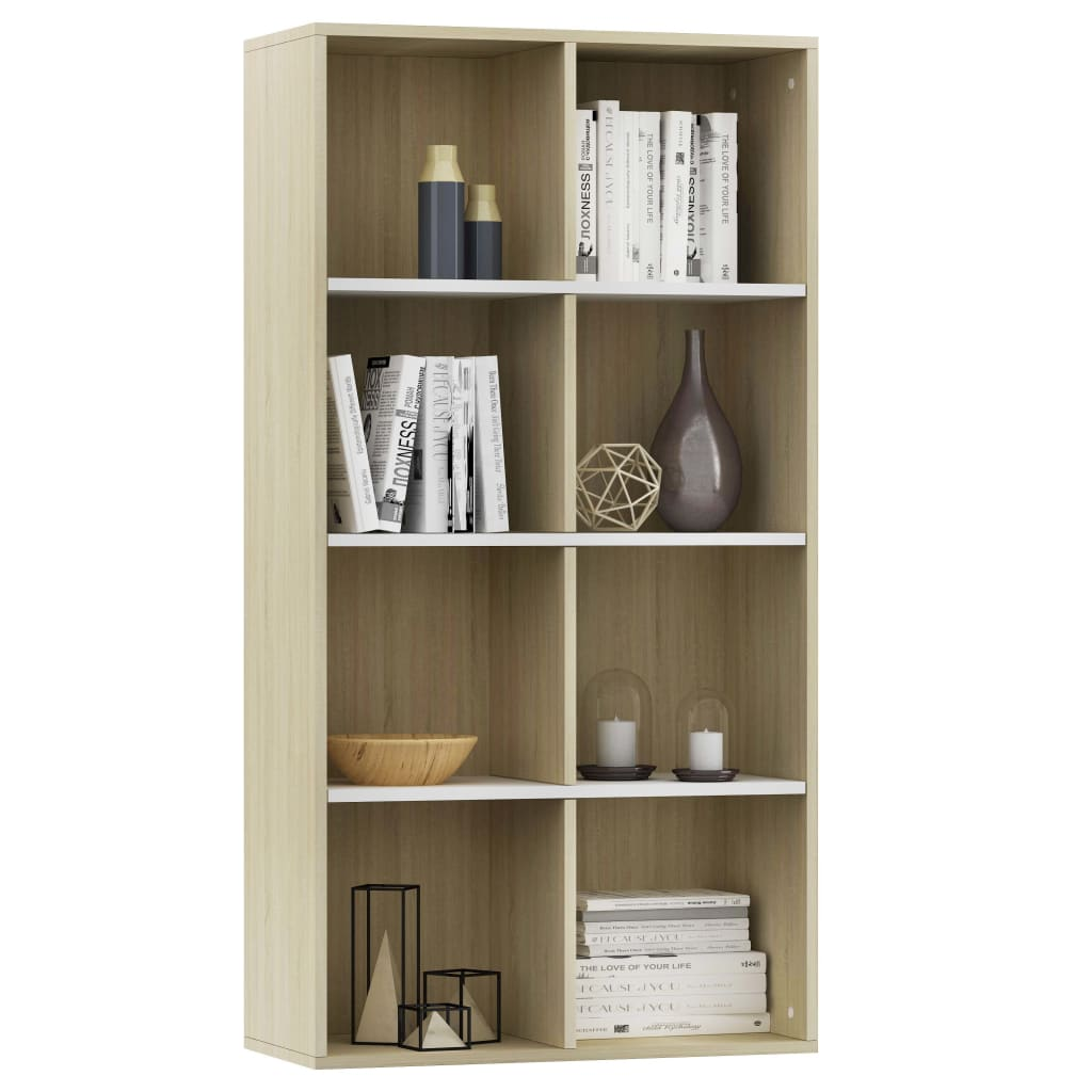 Book Cabinet/Sideboard White and Sonoma Oak 66x30x130 cm Chipboard 3