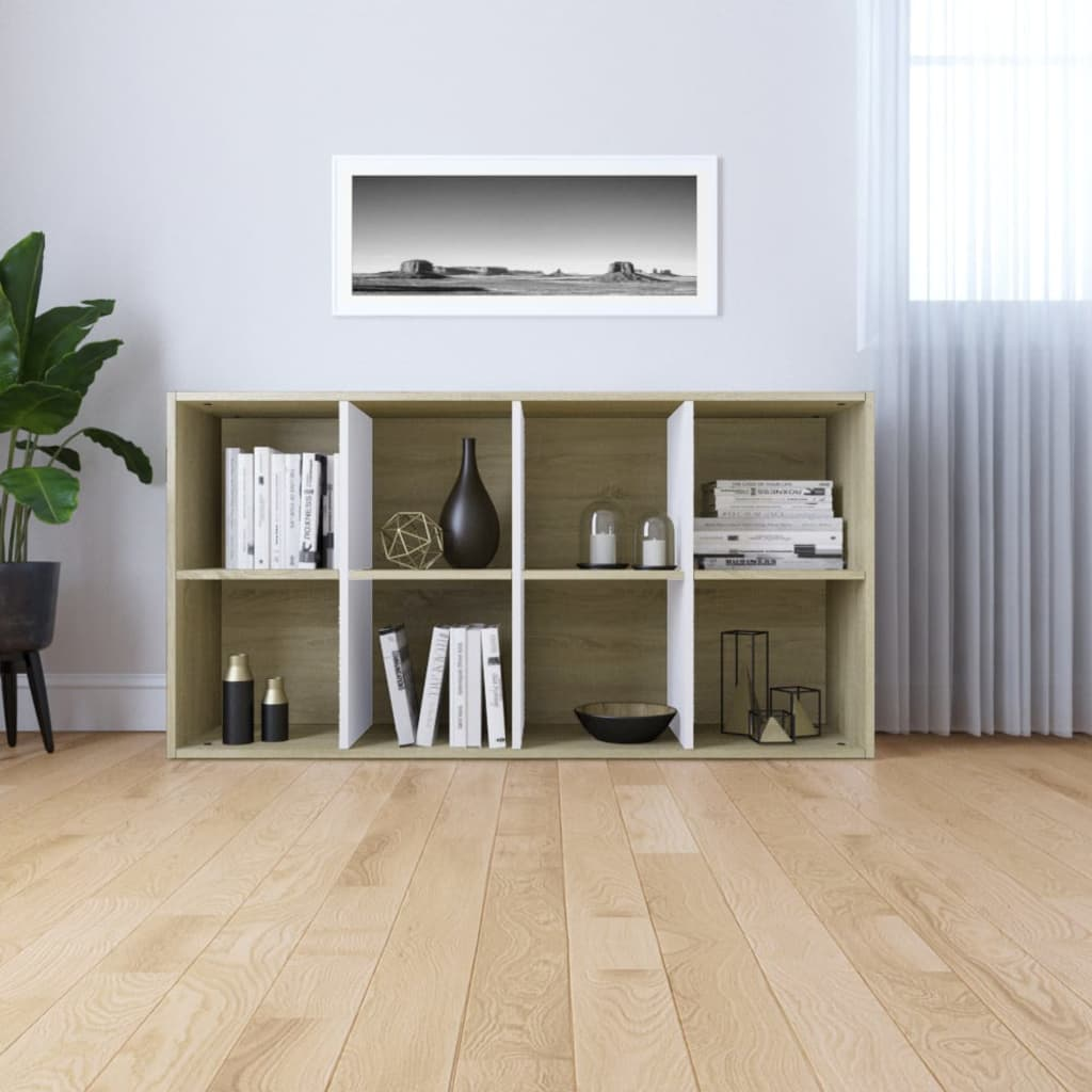 Book Cabinet/Sideboard White and Sonoma Oak 66x30x130 cm Chipboard 4