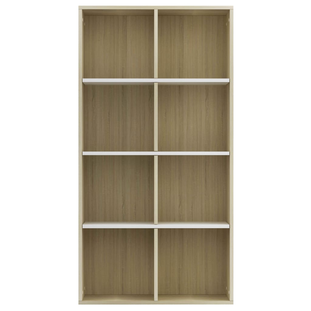 Book Cabinet/Sideboard White and Sonoma Oak 66x30x130 cm Chipboard 5
