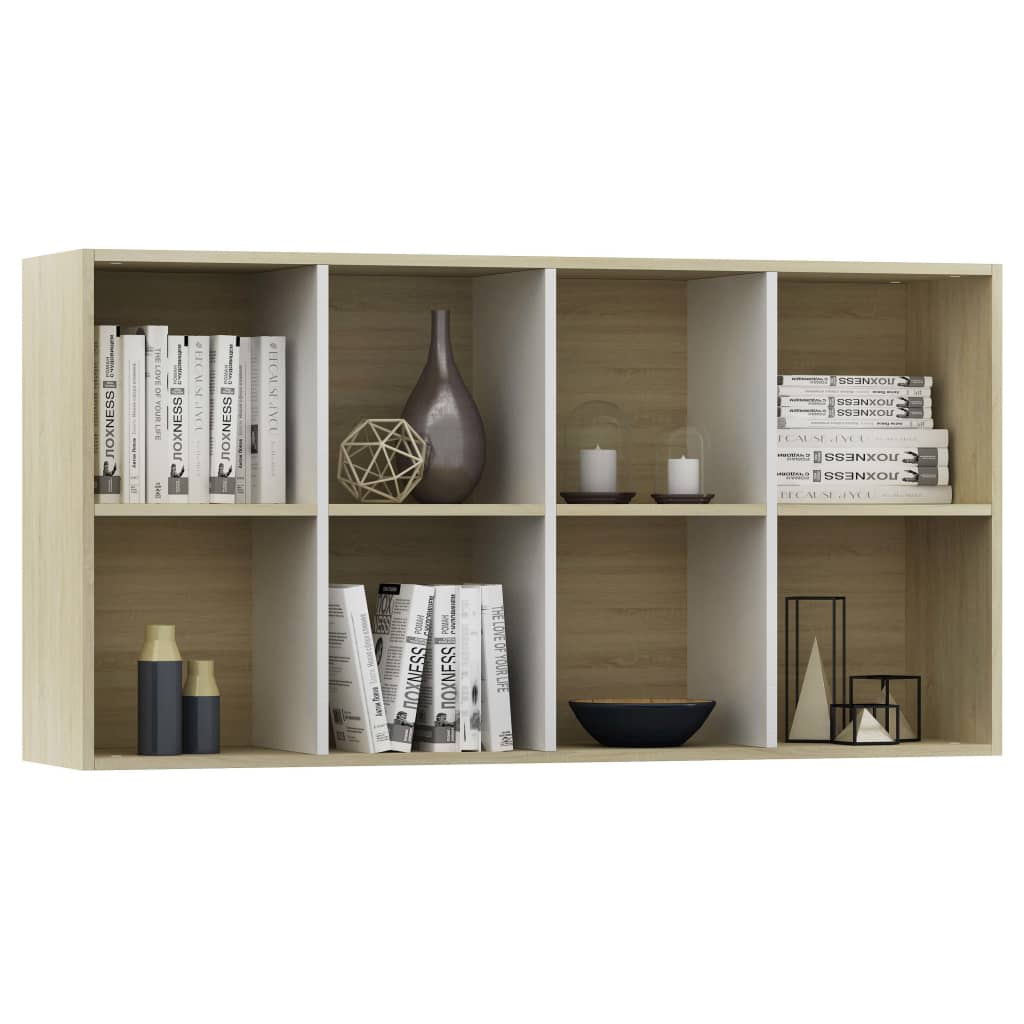 Book Cabinet/Sideboard White and Sonoma Oak 66x30x130 cm Chipboard 7