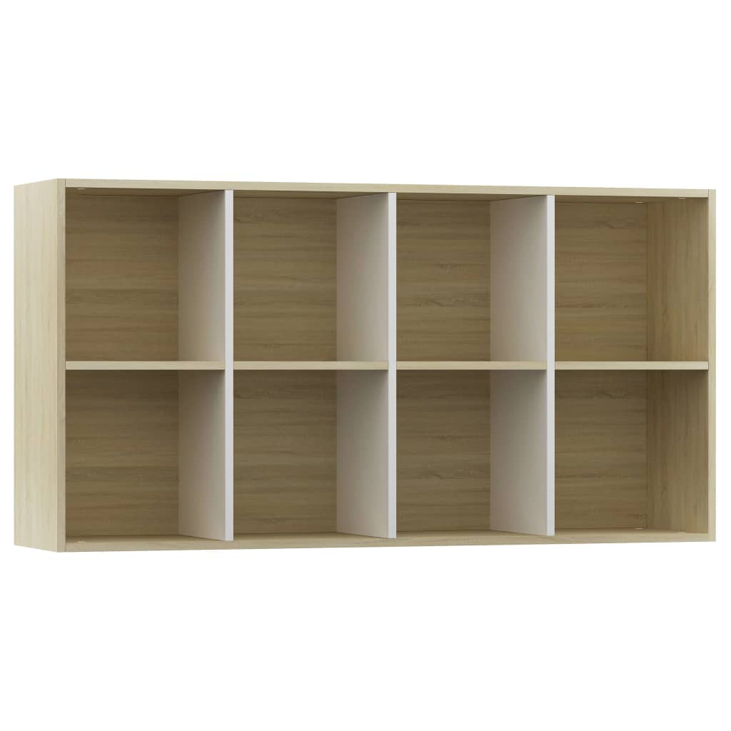 Book Cabinet/Sideboard White and Sonoma Oak 66x30x130 cm Chipboard 8