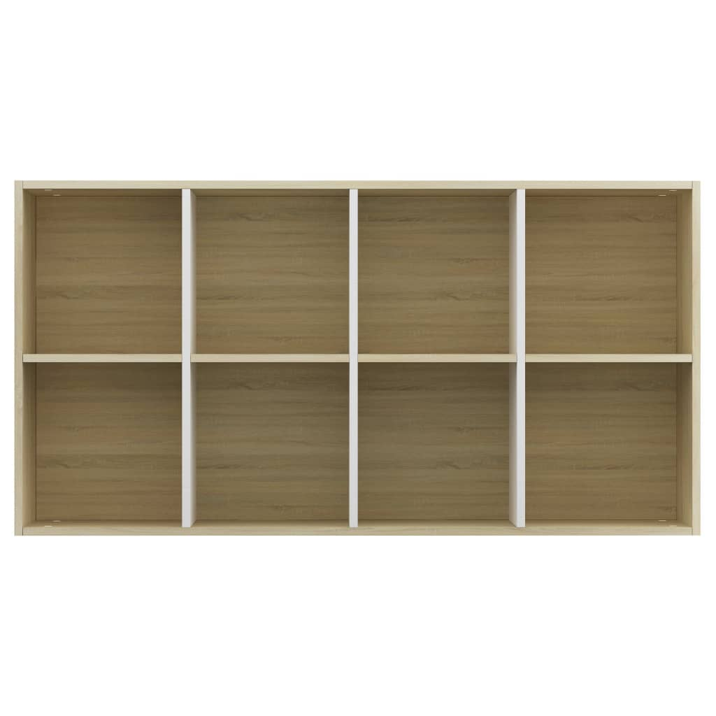 Book Cabinet/Sideboard White and Sonoma Oak 66x30x130 cm Chipboard 9