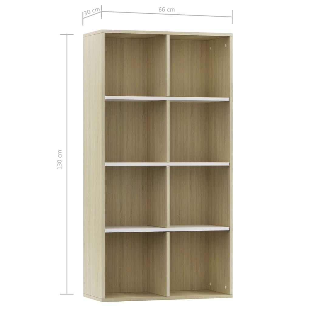 Book Cabinet/Sideboard White and Sonoma Oak 66x30x130 cm Chipboard 11