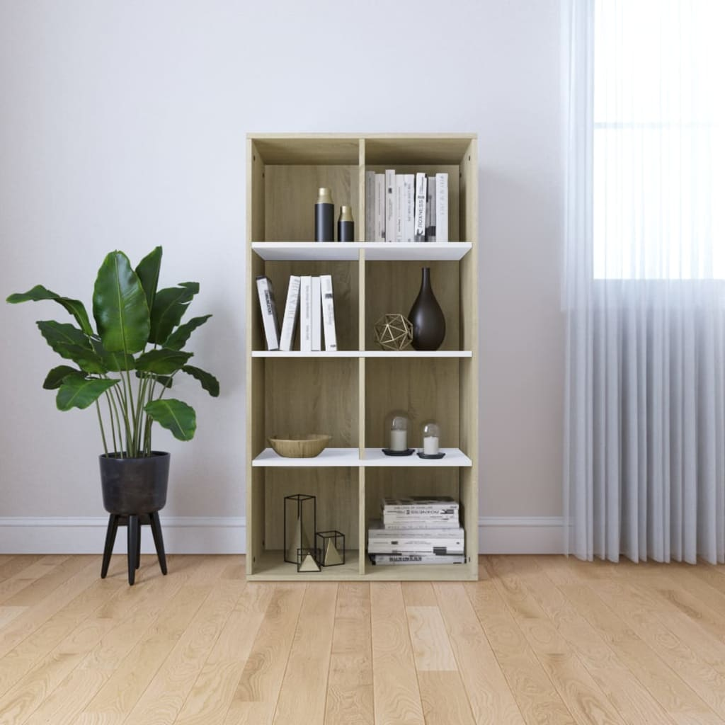 Book Cabinet/Sideboard White and Sonoma Oak 66x30x130 cm Chipboard 1