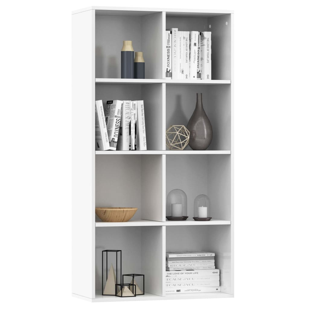Book Cabinet/Sideboard High Gloss White 66x30x130 cm Chipboard 3