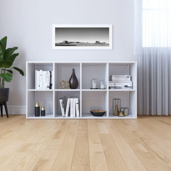 Book Cabinet/Sideboard High Gloss White 66x30x130 cm Chipboard 4