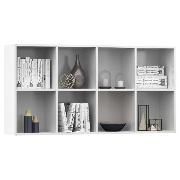 Book Cabinet/Sideboard High Gloss White 66x30x130 cm Chipboard 5