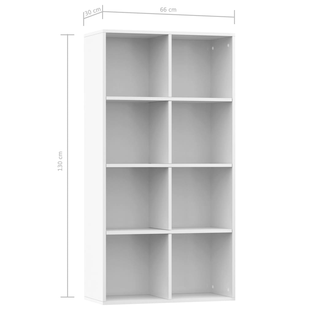 Book Cabinet/Sideboard High Gloss White 66x30x130 cm Chipboard 11