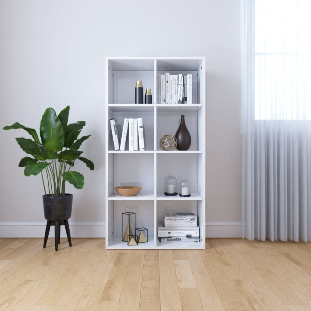 Book Cabinet/Sideboard High Gloss White 66x30x130 cm Chipboard